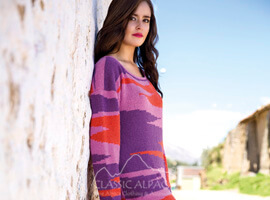 Geometric Alpaca Long Sweater Dress