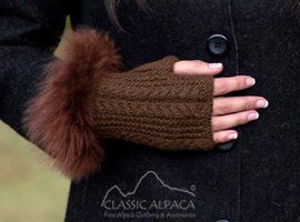 Alpaca Cable Fingerless Gloves with Fur