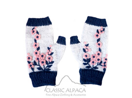 Flowering Alpaca Fingerless Gloves