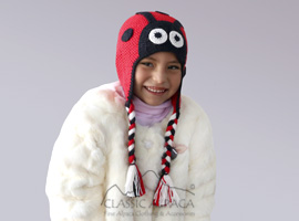 Alpaca Kids - Ladybug Hat with Ear Flaps