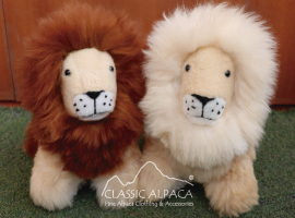 Alpaca Fur - Cushing Lion Ornament 13""