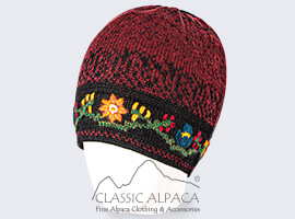 Alpaca Embroidered Leaf Hat - Fleece Lining