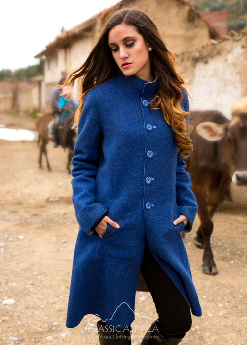Reversible Alpaca Dress Coat