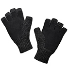 Alpaca Half Finger Double Layer Driving Gloves in Black-Black