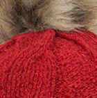 Alpaca Fur Pom Pom Cable Hat in Red