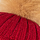 Priscilla Alpaca Fur Pompom Hat in Burgundy